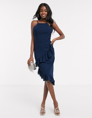 Chi Chi London Chi Chi Sephora midi pencil dress with frill detail in navy
