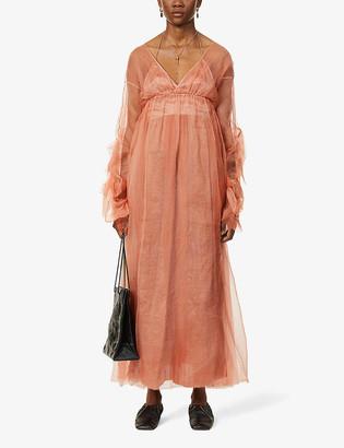 Phaedo Ruched silk-blend maxi dress