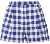 MDS Stripes Gingham Fil Coupé Cotton Shorts - Blue