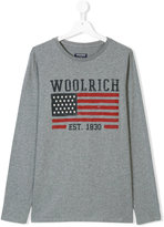 Woolrich Kids long-sleeved logo T-shirt