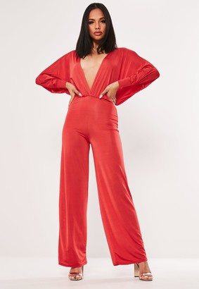 Missguided Red Slinky Plunge Jumpsuit
