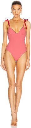 Solid & Striped Olympia Reversible Swimsuit in Dusty Rose & Ruby Rib | FWRD