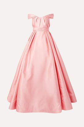 Reem Acra Off-the-shoulder Pleated Satin Gown - Pastel pink