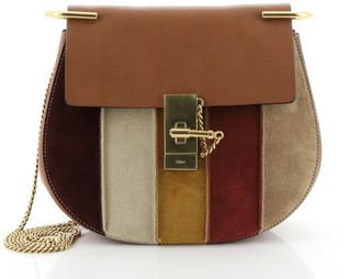 Chloé Drew Patchwork Crossbody Bag Leather and Suede Small
