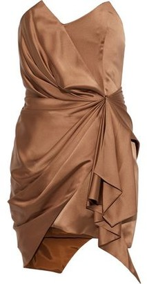 Alexandre Vauthier Strapless Draped Silk-blend Satin Mini Dress