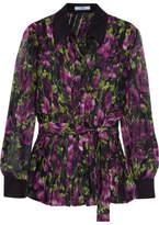 Prada Pleated Floral-print Silk-crepon Blouse