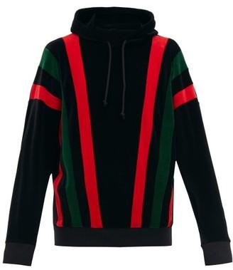 Gucci Felpa Hooded Striped-chenille Sweatshirt - Black