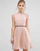 Elise Ryan Embellished Waist Skater Dress With Lace Back
