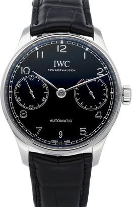 IWC Black Stainless Steel Portugieser Automatic IW5007-03 Men's Wristwatch 42 MM
