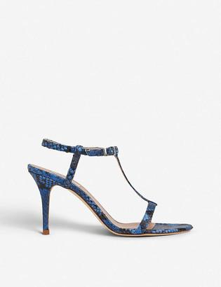 LK Bennett North snake-embossed leather heeled sandals