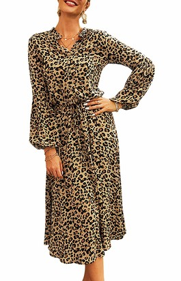 HenzWorld Women's Leopard Midi Dress Ladies Belted High Waist Elegant Dress Loose Fit Stylish Button V Neck Dresses Red Size XL
