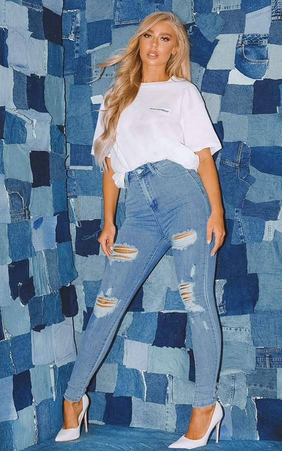PrettyLittleThing Light Wash Distressed 5 Pocket Skinny Jean