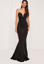 Missguided Tall Scuba Bandeau Fishtail Maxi Dress Black