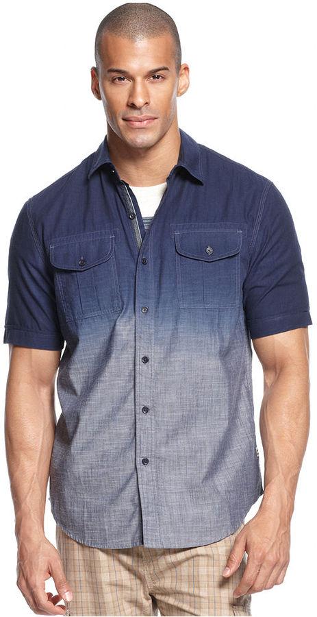 Sean John Big & Tall Shirt, Short Sleeve Dip Dye Chambray Shirt