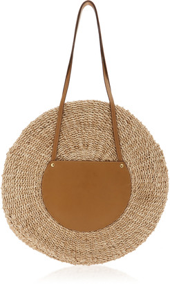 Kayu Belen Leather-Trimmed Woven Straw Tote