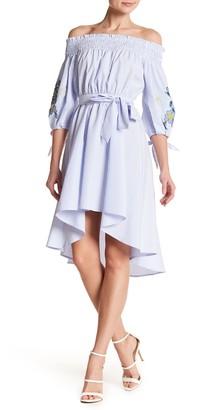ASTR the Label Off-the-Shoulder Embroidered Sleeve Hi-Lo Dress