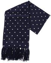 /White Polka Dot Aviator Silk Scarf by Knightsbridge Neckwear