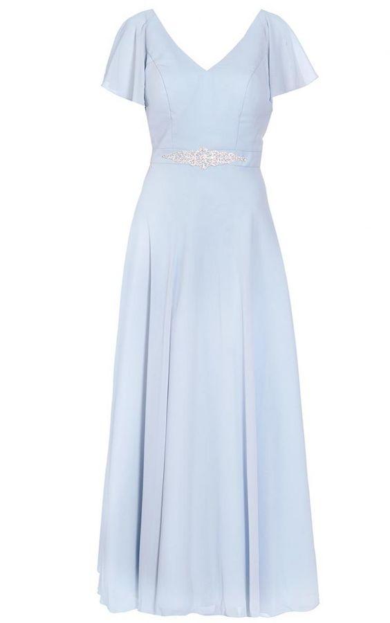 Quiz Pale Blue Chiffon V Neck Maxi Dress