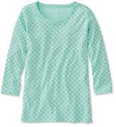 L.L. Bean Pima Cotton Shaped Jewelneck Tee, Three-Quarter-Sleeve Print