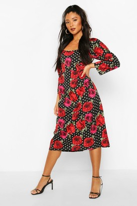 boohoo Mix Polka Dot Rose Print Puff Sleeve Midi Dress
