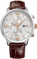 Tommy Hilfiger Men's Chronograph Brown Leather Strap Watch 42mm