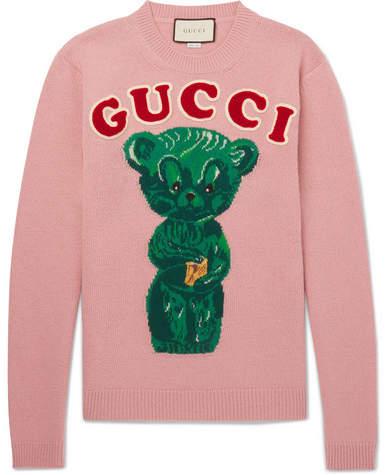 Gucci Appliquéd Intarsia Wool Sweater