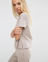 Asos LOUNGE Ribbed Tunic T-Shirt with Side Splits