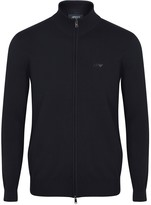 Armani Jeans Navy Zipped Cotton Jumper