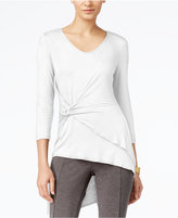 Cable & Gauge Faux-Wrap Asymmetrical-Hem Top