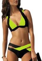 Canis Women Crisscross Color Block Padded Bikini (M, )