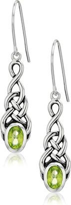 Celtic Sterling Silver Genuine Peridot Knot Linear Drop Earrings