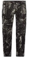 Balmain Slim-fit Acid-washed Stretch-denim Biker Jeans - Black
