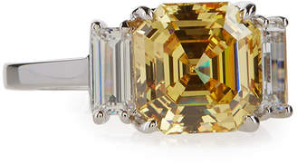 FANTASIA Asscher-Cut Canary Crystal Cocktail Ring, Size 7