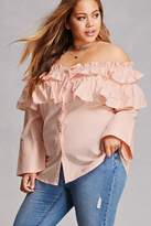 Forever 21 FOREVER 21+ Plus Size Ruffle Flounce Shirt