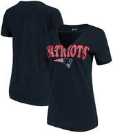 New Era Women's Navy New England Patriots Baby Jersey V-Neck Choker T-Shirt