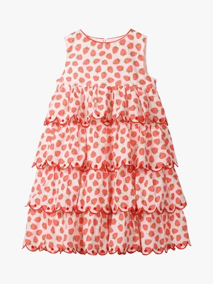 Boden Mini Girls' Strawberry Tiered Embroidered Dress, Peach