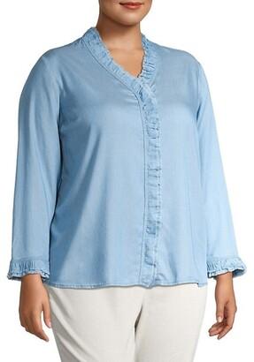 NIC+ZOE, Plus Size Ruffle Woven Denim Shirt
