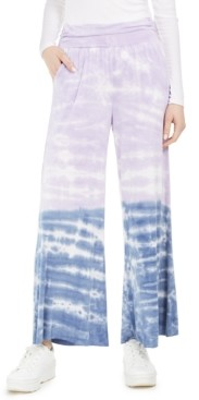 Rewash Juniors' Tie-Dyed Wide-Leg Pants
