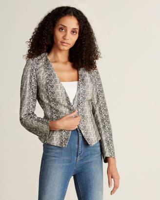 Gracia Snakeskin-Inspired V-Neck Faux Leather Jacket