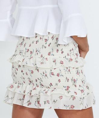 Alice In The Eve Maria Wild Rose Smocked Skirt Cream