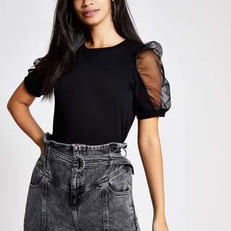River Island Womens Black mesh puff sleeve T-shirt