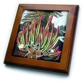 3dRose LLC ft_128731_1 Florene Victorian n Vintage Botanical - English Botanist 1807 Cactus And Landscape Paintings - Framed Tiles