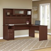 Hillsdale L-Shaped Executive Desk with Hutch Red Barrel Studio Color: Harvest Cherry