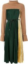 Sacai high collar micro pleated dress