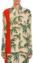 Stella McCartney Birds of Paradise Print Long-Sleeve Silk Shirt w Solid Stripe