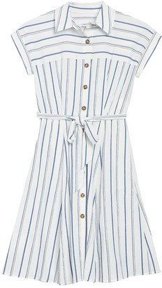 Calvin Klein Striped Short Sleeve Collared Dress