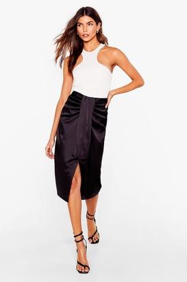 Nasty Gal Womens Knot Our Problem Satin Midi Skirt - Black - 6
