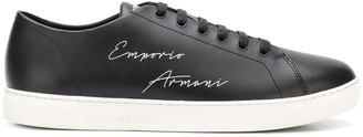Emporio Armani Lace Up Logo Sneakers