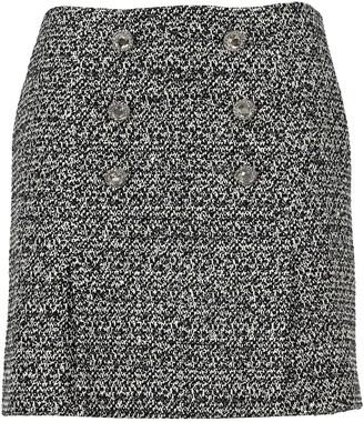 Alessandra Rich Crystal Button Tweed Mini Skirt