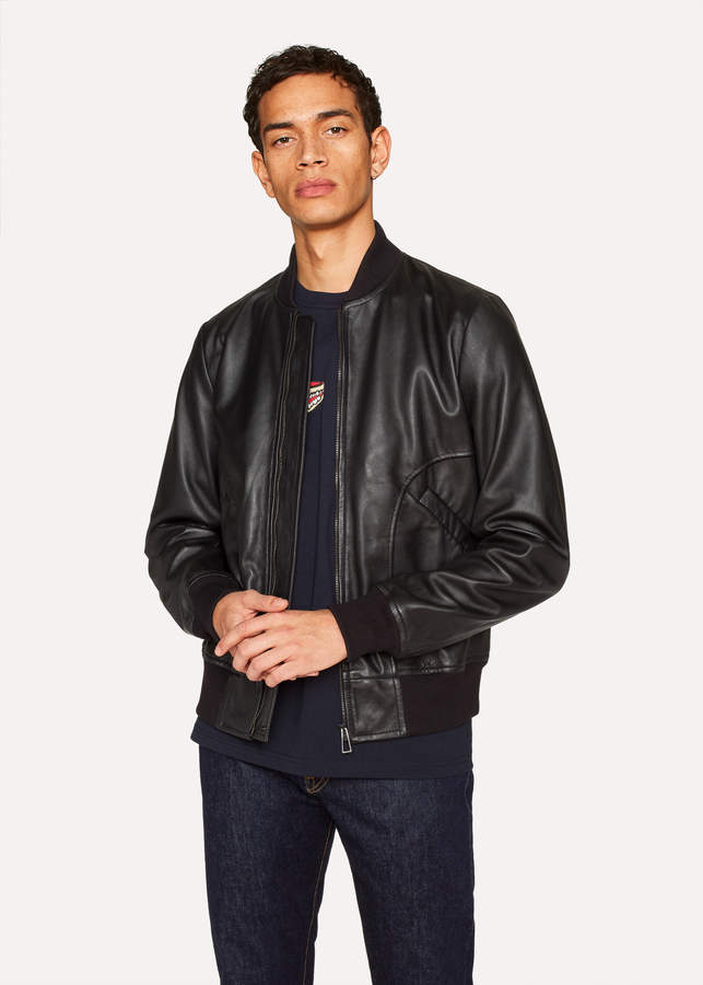 Paul Smith Men's Black Leather Bomber Jacket